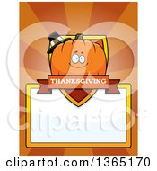 Clipart Of A Thanksgiving Pumpkin Character Shield Over A Blank Sign And Rays Royalty Free Vector Illustration