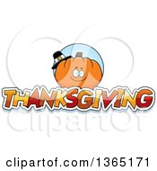 Clipart Of A Pumpkin Character Over Thanksgiving Text Royalty Free Vector Illustration