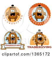 Clipart Of Roasted Thanksgiving Turkey Character Badges Royalty Free Vector Illustration