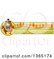 Clipart Of A Roasted Thanksgiving Turkey Character Banner Or Border Royalty Free Vector Illustration