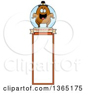 Clipart Of A Roasted Thanksgiving Turkey Character Bookmark Royalty Free Vector Illustration