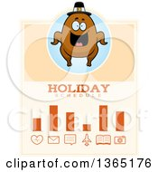 Clipart Of A Roasted Thanksgiving Turkey Character Holiday Schedule Design Royalty Free Vector Illustration