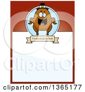 Clipart Of A Roasted Thanksgiving Turkey Character Page Design With Text Space On Red Royalty Free Vector Illustration