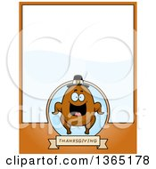 Clipart Of A Roasted Thanksgiving Turkey Character Page Design With Text Space On Orange Royalty Free Vector Illustration