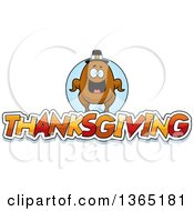 Clipart Of A Roasted Turkey Character Over Thanksgiving Text Royalty Free Vector Illustration