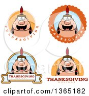 Clipart Of Thanksgiving Native American Indian Man Badges Royalty Free Vector Illustration by Cory Thoman