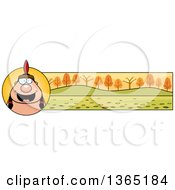 Clipart Of A Thanksgiving Native American Indian Man Banner Or Border Royalty Free Vector Illustration by Cory Thoman