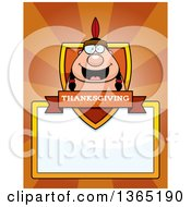 Clipart Of A Thanksgiving Native American Indian Man Shield Over A Blank Sign And Rays Royalty Free Vector Illustration