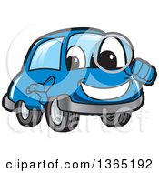 Happy Blue Car Mascot Searching With A Magnifying Glass