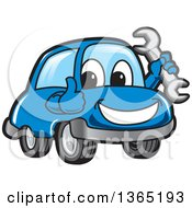 Happy Blue Car Mascot Holding A Wrench And Giving A Thumb Up