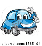 Happy Blue Car Mascot Holding A Wrench And Pointing At The Viewer