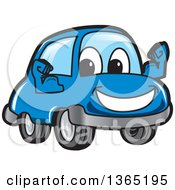 Happy Blue Car Mascot Flexing