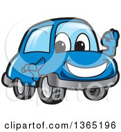 Happy Blue Car Mascot Gesturing Ok