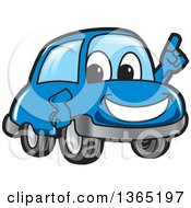 Happy Blue Car Mascot Holding Up A Finger