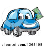 Happy Blue Car Mascot Holding Up Cash Money