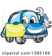 Happy Blue Car Mascot Holding A Wrench And A Tag