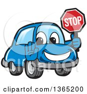 Happy Blue Car Mascot Gesturing And Holding A Stop Sign