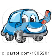 Happy Blue Car Mascot Holding And Pointing To A Phone