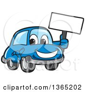 Happy Blue Car Mascot Holding A Blank Sign