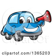 Clipart Of A Happy Blue Car Mascot Holding A Megaphone Royalty Free Vector Illustration by Toons4Biz