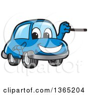 Happy Blue Car Mascot Using A Pointer Stick