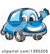 Clipart Of A Happy Blue Car Mascot Waving And Pointing Royalty Free Vector Illustration by Toons4Biz