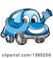 Clipart Of A Happy Blue Car Mascot Welcoming Royalty Free Vector Illustration