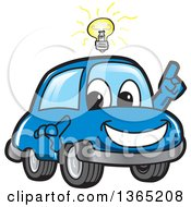 Happy Blue Car Mascot With An Idea