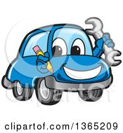 Happy Blue Car Mascot Holding A Wrench And Pencil