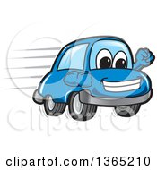 Happy Blue Car Mascot Speeding