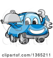 Clipart Of A Happy Blue Car Mascot Holding A Wrench And Cloche Platter Royalty Free Vector Illustration by Toons4Biz