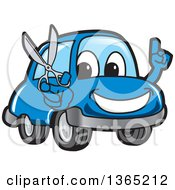Happy Blue Car Mascot Holding Up A Finger And Scissors