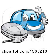 Clipart Of A Happy Blue Car Mascot Holding A Wrench By A Computer Mouse Royalty Free Vector Illustration