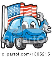 Happy Blue Car Mascot Holding A Wrench And Giving A Thumb Up By An American Flag