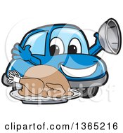 Happy Blue Car Mascot Serving A Roasted Thanksgiving Turkey
