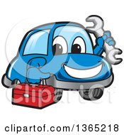 Happy Blue Car Mascot Holding A Wrench And Tool Box