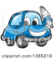 Happy Blue Car Mascot Giving A Thumb Up And Holding A Spark Plug