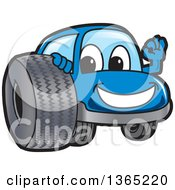Happy Blue Car Mascot Gesturing Ok By A Tire