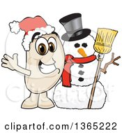 Clipart Of A Navy Bean Mascot Character With A Christmas Snowman Royalty Free Vector Illustration