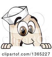 Clipart Of A Navy Bean Mascot Character Looking Over A Sign Royalty Free Vector Illustration