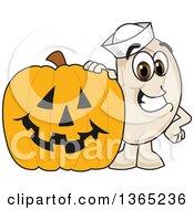 Navy Bean Mascot Character By A Halloween Jackolantern Pumpkin