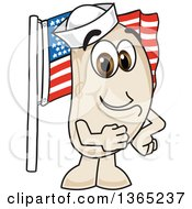 Clipart Of A Navy Bean Mascot Character Pledging Allegiance To The American Flag Royalty Free Vector Illustration
