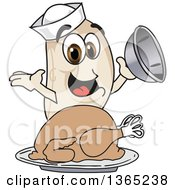 Navy Bean Mascot Character Serving A Roasted Thanksgiving Turkey