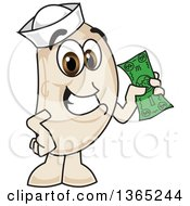 Clipart Of A Navy Bean Mascot Character Holding Cash Royalty Free Vector Illustration by Toons4Biz