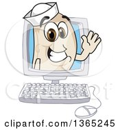 Clipart Of A Navy Bean Mascot Character Waving From A Desktop Computer Royalty Free Vector Illustration by Toons4Biz