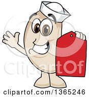 Clipart Of A Navy Bean Mascot Character Holding A Price Tag Royalty Free Vector Illustration