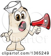 Clipart Of A Navy Bean Mascot Character Screaming Into A Megaphone Royalty Free Vector Illustration