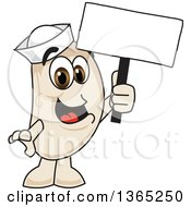 Clipart Of A Navy Bean Mascot Character Holding A Blank Sign Royalty Free Vector Illustration