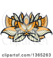 Clipart Of A Navy Blue Orange And Pastel Yellow Henna Lotus Flower Royalty Free Vector Illustration