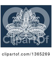 Clipart Of A White Henna Lotus Flower On Blue Royalty Free Vector Illustration